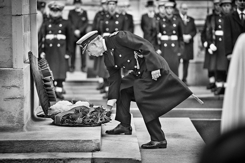 Prince Charles at Remembrance Day:Black and White Photo-609