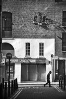 Man walking down the street:Black and White Photo-513