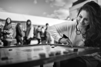 Playing Carrom in Brick Lane:Black and White Photo-517