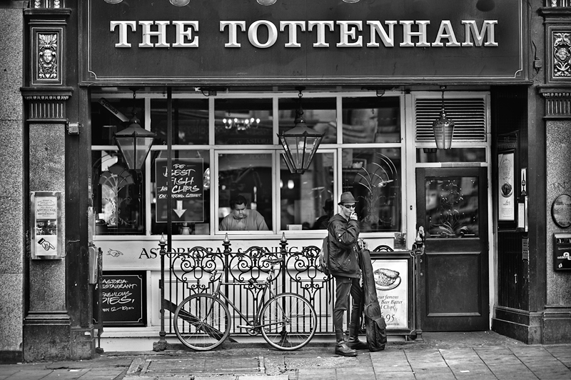 A Smoker at The Tottenham:Black and White Photo-509