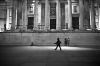 At front of National Gallery:Black and White Photo-536