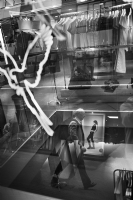 Man reflected in a glass:Black and White Photo-537