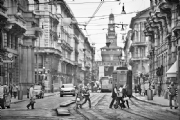 Tram and People of Milan Italy:Black and White Photo-542