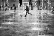 Running through the fountain:Black and White Photo-556