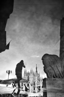 Reflection of Duomo Milano:Black and White Photo-540