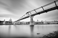 St Paul's Cathedral and Millennium Bridge:Black and White Photo-547