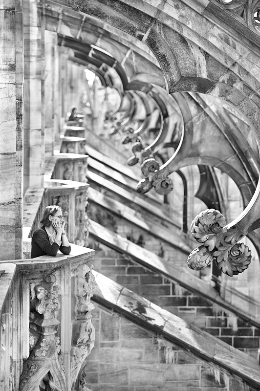 At Duomo Milano:Black and White Photo-541