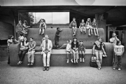 People at South Bank National Theatre in London:Black and White Photo-573