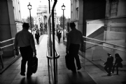Walking Figures in London:Black and White Photo-575