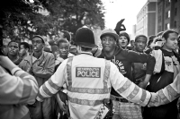 People gathered for The Notting Hill Carnival 2010:Black and White Photo-586