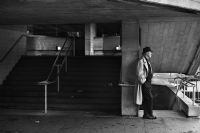 A man at South Bank:Black and White Photo-589