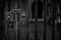 Padlock and Chains:Black and White Photo-590