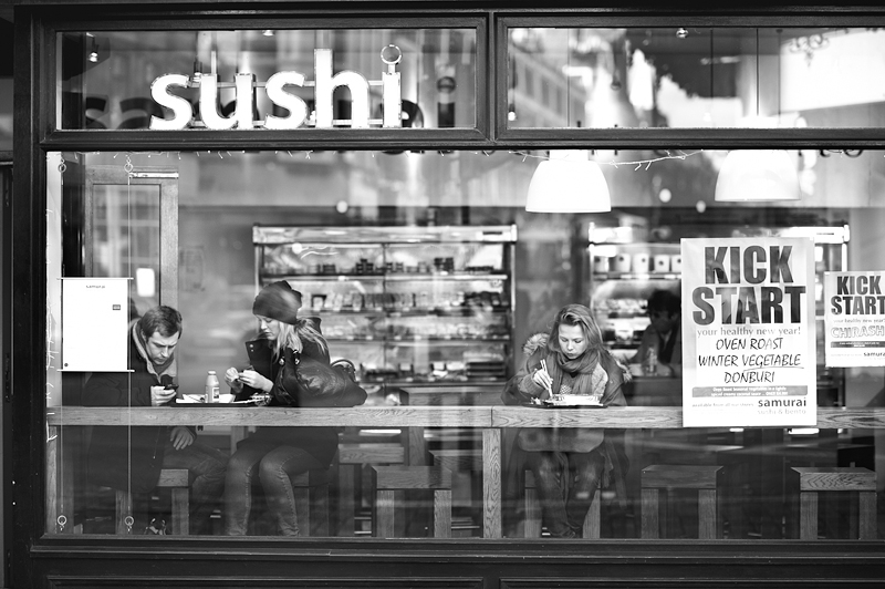 Samurai Sushi - Shaftesbury Avenue W1D:Black and White Photo-620