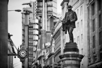 James Henry Greathead's Statue in Cornhill, London:Black and White Photo-668