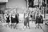 Street Market - East London:Black and White Photo-626
