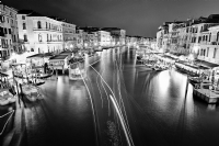 Night View from Rialto Bridge in Venice Italy:Black and White Photo-640