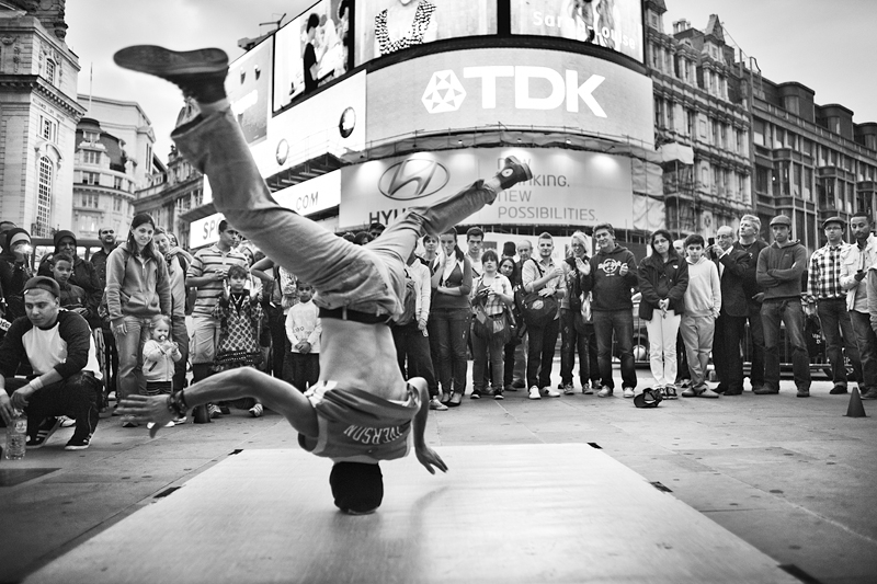 Headspin at Piccadilly Circus, London:Black and White Photo-658
