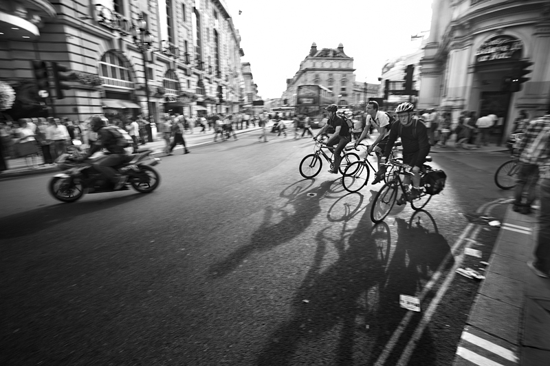 Bicycle commuters in Piccadilly:Black and White Photo-659