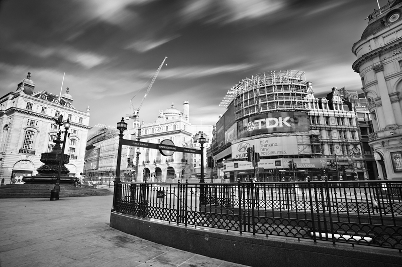 Piccadilly Circus underground exits:Black and White Photo-661