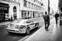 Chrome Car in Jermyn Street London:Black and White Photo-664