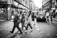Crossing Cranbourn Street, London:Black and White Photo-666