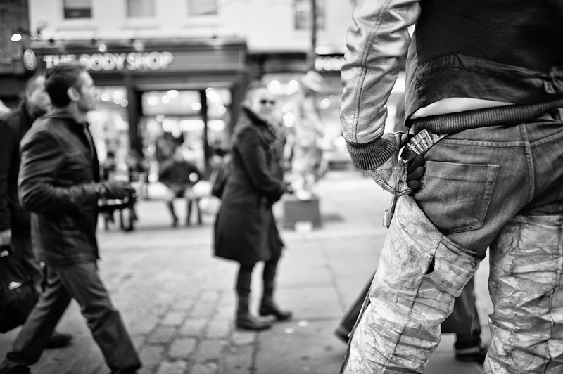 Gunman - Covent Garden London:Black and White Photo-676