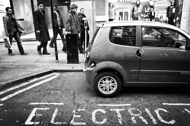 Electric Car - Southampton Street, London:Black and White Photo-677
