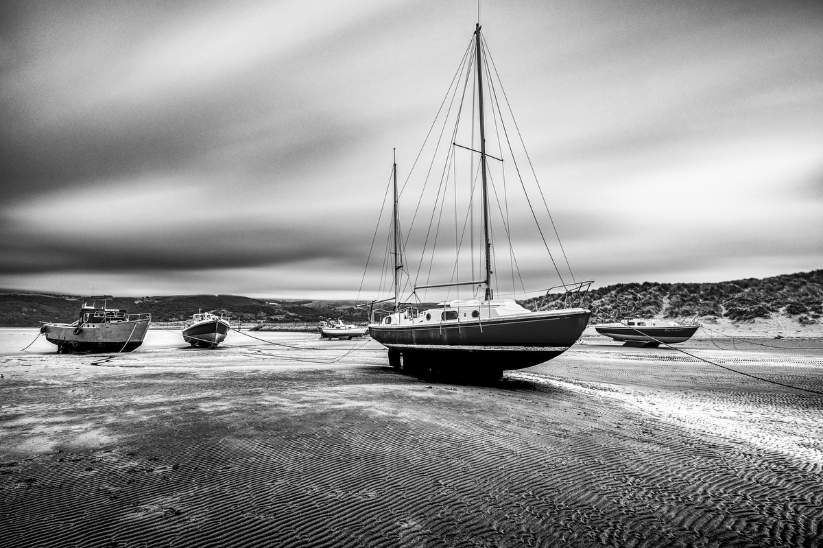 Boat at Barmouth beach, North Wales:Black and White Photo-746