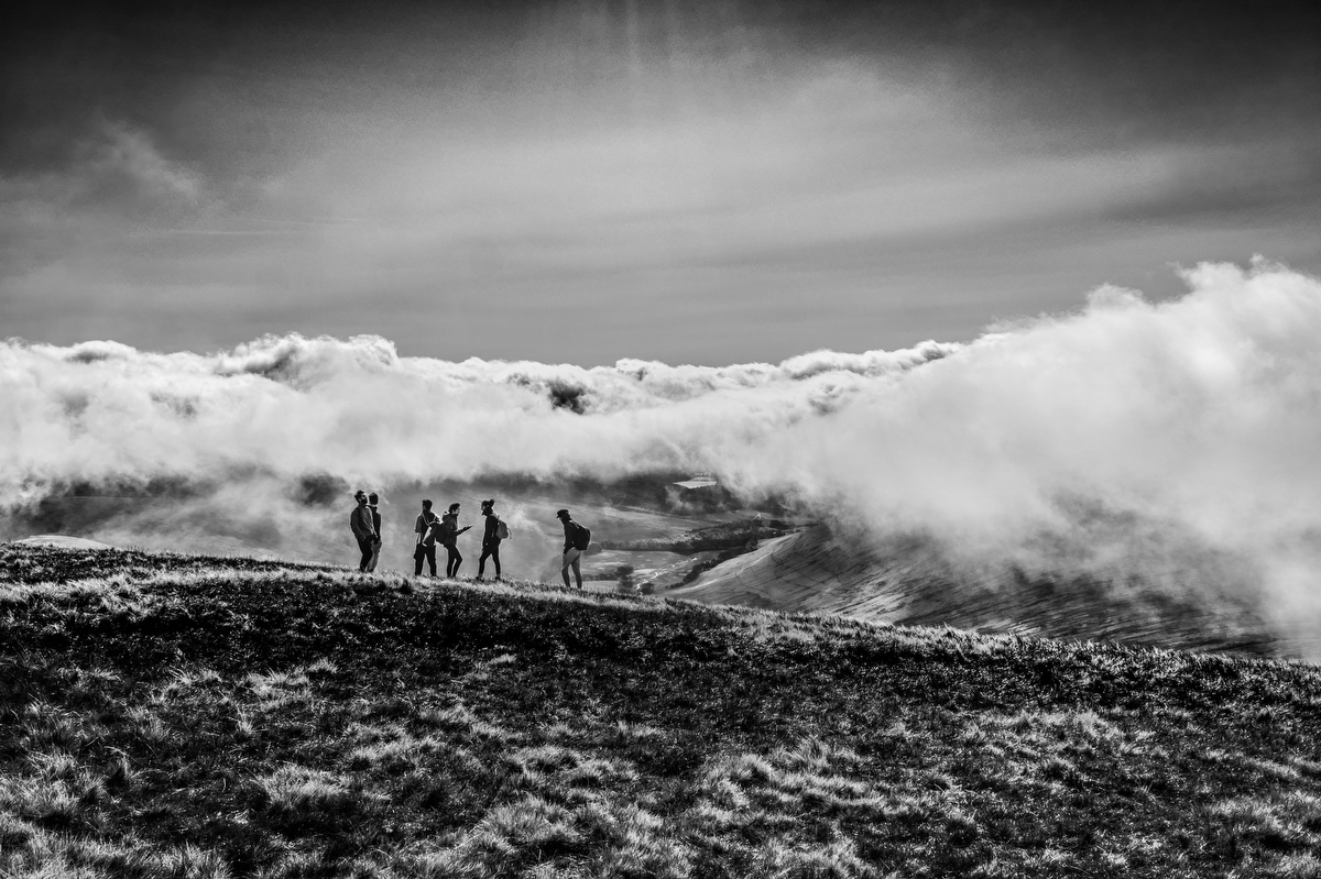 Hikers on Pen y Fan:Black and White Photo-751